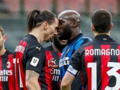 AC Milan's Zlatan Ibrahimovic and Inter Milan's Romelu Lukaku go head-to-head (Antonio Calanni/AP/PA)