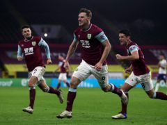 Burnley's Chris Wood celebrates scoring the winning goal (Molly Darlington/PA)
