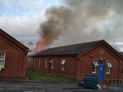 A fire which has broken out at Napier Barracks in Folkestone (Care4Calais/PA)