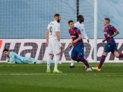 Levante's Roger Marti celebrates after scoring against Real Madrid (Manu Fernandez/AP)
