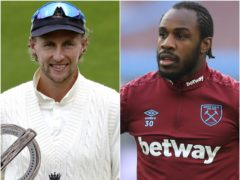 Joe Root and Michail Antonio (Alastair Grant/Adam Davy/PA)