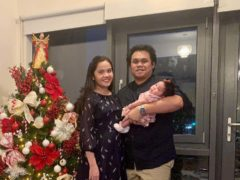 NHS nurse Eva Gicain with her husband Limuel and daughter Elleana (Royal Papworth Hospital/ PA)