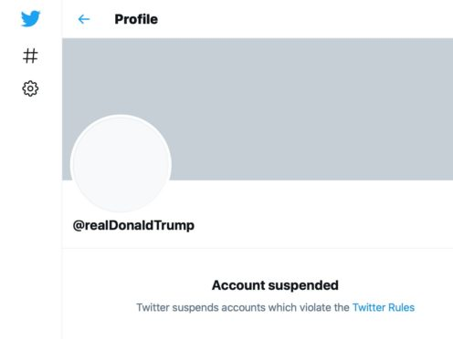 President Donald Trump's Twitter profile page, showing his account has been suspended, on Friday (AP)