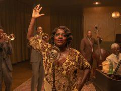 Chadwick Boseman, from left, Colman Domingo, Viola Davis, Michael Potts and Glynn Turman in Ma Rainey's Black Bottom (David Lee/Netflix via AP)