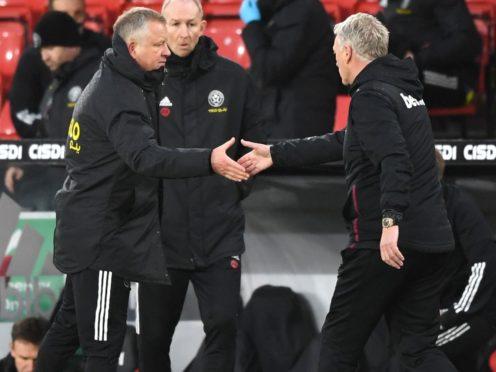 Chris Wilder has hailed David Moyes ahead of Sheffield United's trip to West Ham (Gareth Copley/PA)