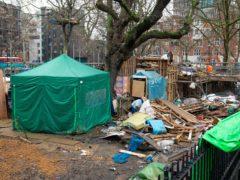 The HS2 Rebellion encampment in Euston Square Gardens (Dominic Lipinski/PA)