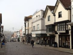Guildford high street in Surrey in November 2020. Households' hopes for their personal finances over the next 12 months improved in February, reaching close to levels seen before the coronavirus lockdowns started, according to GfK (Adam Davy/PA)