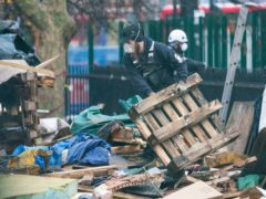 The site of the anti-HS2 protesters' tunnels at Euston Square Gardens (Dominic Lipinski/PA)