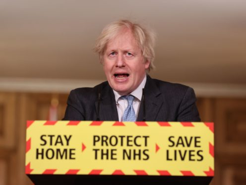 Prime Minister Boris Johnson during a media briefing on coronavirus (Steve Reigate/Daily Express/PA)