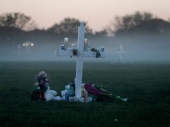 Seventeen memorial crosses placed for the 17 victims of the shooting at Marjory Stoneman Douglas High School in Parkland, Florida (Gerald Herbert/AP)