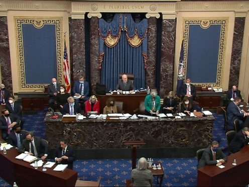 Democrats maintain they proved their case against Donald Trump despite his acquittal on Saturday (US Senate TV/AP)