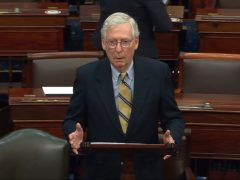 Senate minority leader Mitch McConnell has pledged his support for Donald Trump if he secures the Republican party's 2024 presidential nomination (Senate Television/AP)