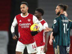 Pierre-Emerick Aubameyang scored a hat-trick in Arsenal's win over Leeds last weekend (Catherine Ivill/PA)