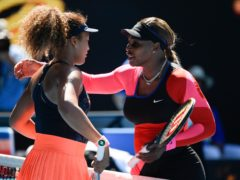 Japan's Naomi Osaka, left, is congratulated by Serena Williams (Andy Brownbill/AP)
