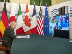 Boris Johnson hosting the G7 leaders for a virtual meeting (Geoff Pugh/Daily Telegraph/PA)