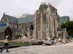 The Christ Church Cathedral after the 2011 earthquake, which was commemorated in a memorial service on Monday. The cathedral is still being rebuilt. (Mark Baker/AP)