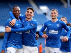 Rangers' Joe Aribo (left) celebrates after netting against Dundee United (Jane Barlow/PA)