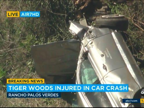 Tiger Woods's car after the crash (KABC-TV/AP)