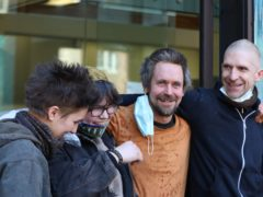 (left to right) Juliett Stephenson-Clarke, Blue Sandford, Daniel Hooper, and activist Larch Maxey at Westminster Magistrates' Court (Luciana Guerra/PA)