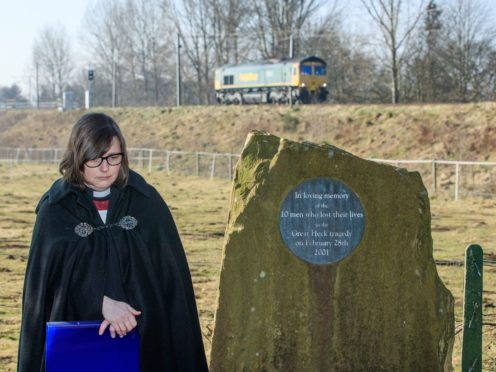 Eleanor Robertshaw, Team Rector of Great Snaith, during a memorial service at the Great Heck Rail Disaster Memorial Garden near Selby in North Yorkshire (Danny Lawson/PA)(