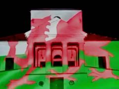 Breda Castle in southern Hungary was lit up in the colours of the Welsh flag (WHCA/PA)