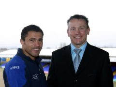 On this day in 2009, Jason Robinson, left with rugby director Kingsley Jones, was appointed Sale head coach (Dave Thompson/PA)