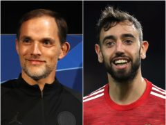 Thomas Tuchel, left, wanted Bruno Fernandes, right, at Paris St Germain (Martin Rickett/PA)