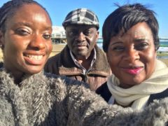 Mrs Udeagbala (right) with her daughter Cheyrinne and husband Francis (Cheyrinne Udeagbala/PA)