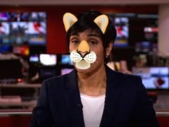 A cat filter was used on Reeta Chakrabarti while she read the news on Wednesday (BBC News/PA)