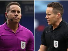 Referee Stephen Martin changed from black to a purple shirt due to a kit clash (Bradley Collyer/PA)