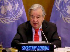 United Nations secretary-general Antonio Guterres addresses the Security Council (UNTV via AP)