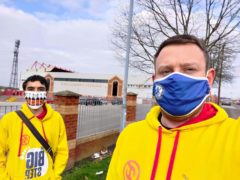 Michael Wilson (left) and Robert Wilson-Rust (right) joined hundreds in walking to their local football stadiums (The Big Step)