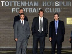 Glenn Hoddle, centre, on his appointment as Tottenham manager in 2001 (Tom Hevezi/PA)