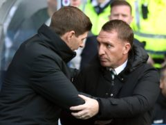 Rangers manager Steven Gerrard (left) was shocked to see Brendan Rodgers' Leicester crash out against Slavia Prague (Andrew Milligan/PA)