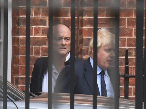 Prime Minister Boris Johnson with his then senior aide Dominic Cummings (Victoria Jones/PA)