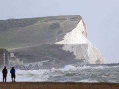 Windy conditions in Seaford, East Sussex. A yellow weather warning is in force for all of England and Wales from 9pm on Wednesday (Steve Parsons/PA)
