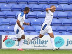 Tranmere's James Vaughan (right) will be assessed ahead of the League Two clash with Crawley (Martin Rickett/PA)