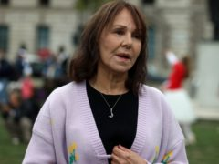 Arlene Phillips takes part in a protest calling for more funding for the performing arts (Luciana Guerra/PA)