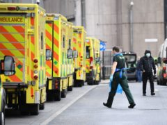 Ambulances at Whitechapel Hospital in London (Stefan Rousseau/PA)