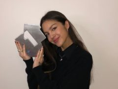 Olivia Rodrigo pictured celebrating her first week at number one in the official UK singles chart with the song Drivers License (PA)
