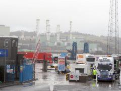Trucks leaving Larne Port (PA)