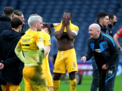Livingston manager David Martindale speaks to his team at the end of the Betfred Cup final (Andrew Milligan/PA)