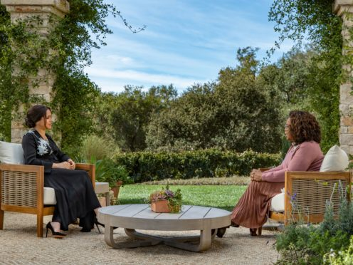 The Duchess of Sussex during her interview with Oprah Winfrey (Hoe/Pugliese/Harpo Productions/PA)