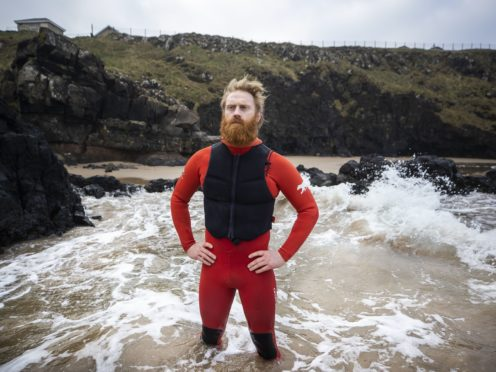 Al Mennie who has raised over £15,000 through nights swims from December 1 to the end of February for Aware NI, a depression charity in Northern Ireland. (Liam McBurney/PA)