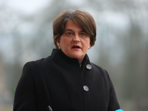 Northern Ireland First Minister Arlene Foster during a press conference at Stormont on the pathway to recovery (McBurney/PA)
