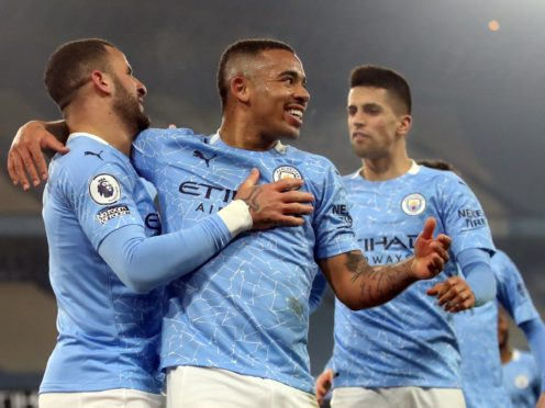 Manchester City's Gabriel Jesus celebrates scoring their side's second goal of the game during the Premier League match at the Etihad Stadium, Manchester. Picture date: Tuesday March 2, 2021.