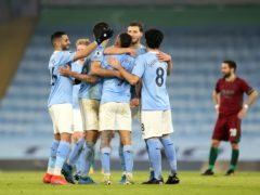 Manchester City celebrate victory over Wolves (Carl Recine/PA)