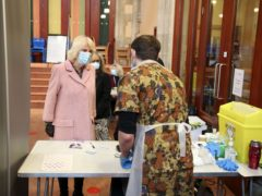 The Duchess of Cornwall visited the Community Vaccination Centre at St Paul's Church, Croydon (Steve Parsons/PA)