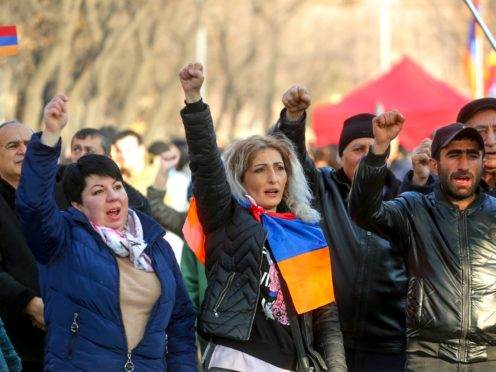 Opposition demonstrators shout anti-government slogans as they rally to pressure Armenian prime minister Nikol Pashinyan to resign (Hrant Khachatryan/PAN Photo via AP)