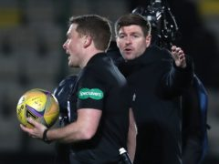 Rangers manger Steven Gerrard (right) confronts referee John Beaton (Andrew Milligan/PA)